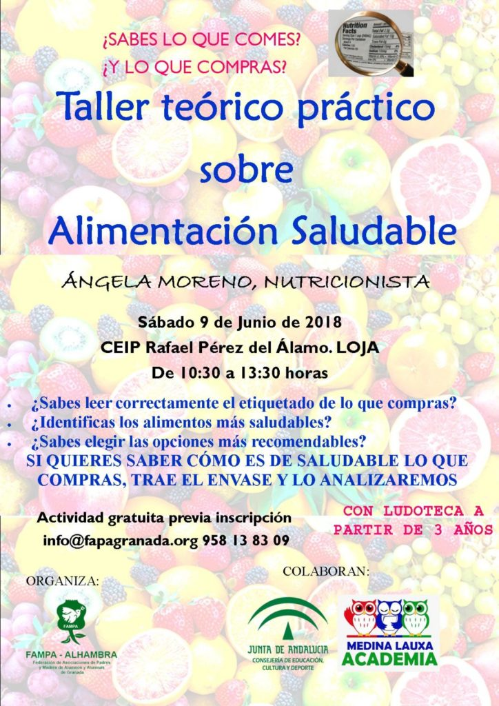 Taller teórico práctico de alimentación saludable en Loja Granada